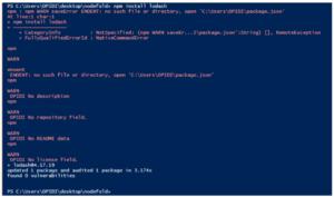 a screenshot of running a simple install command using npm