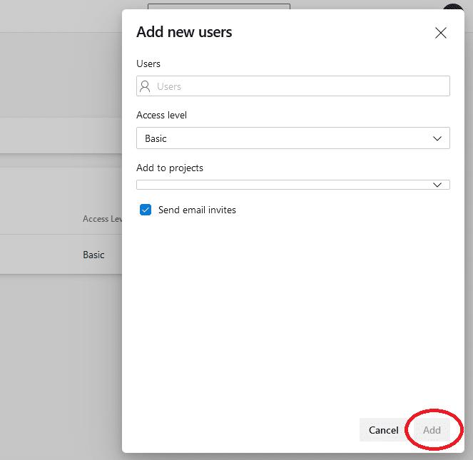 Azure DevOps add new users' details