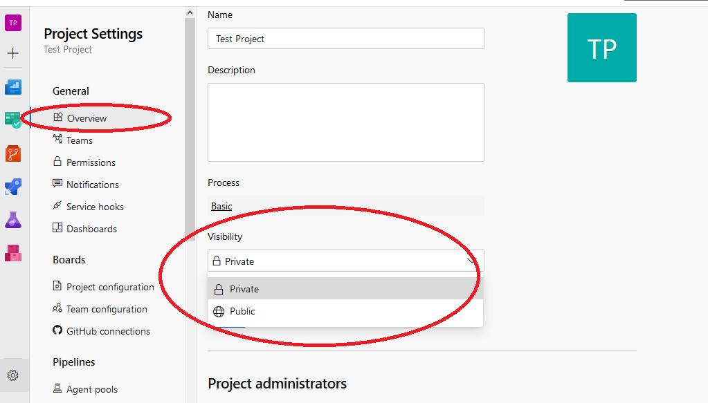 Azure DevOps change project visibility via project settings