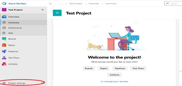 Azure DevOps dashboard project settings