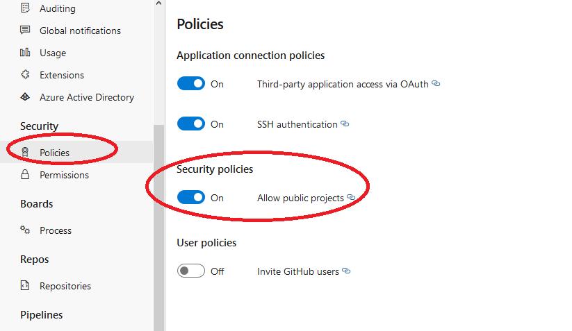 Azure DevOps organization security policies