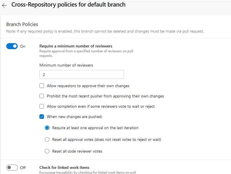 Azure DevOps set project-wide policies