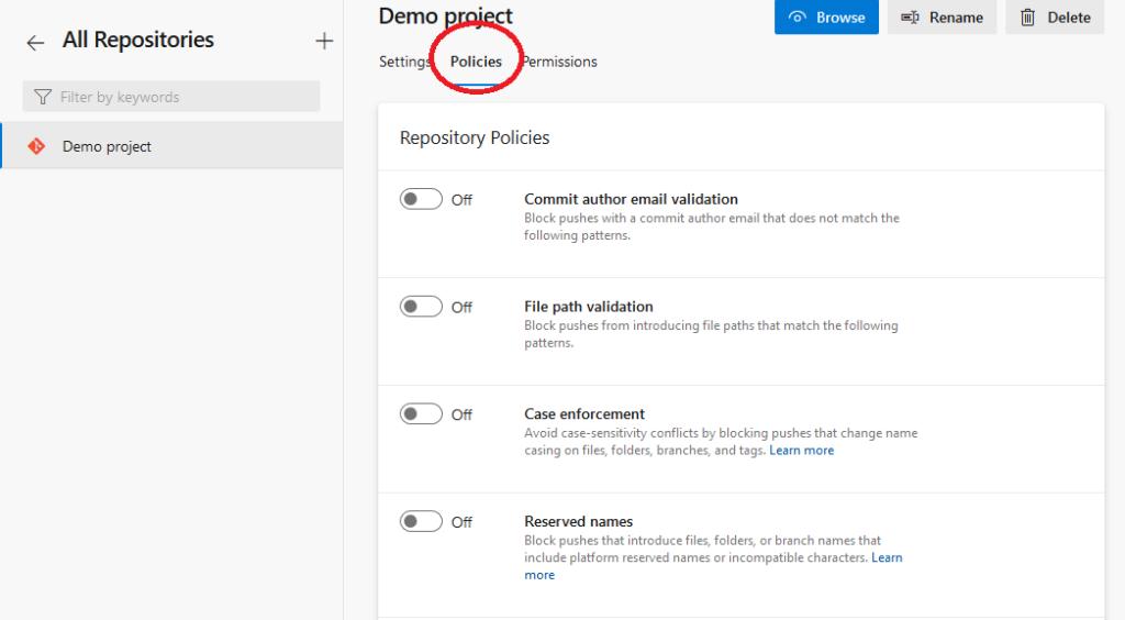 Azure DevOps set repository policies