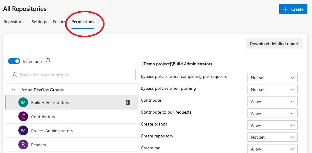 Azure DevOps set repository permissions