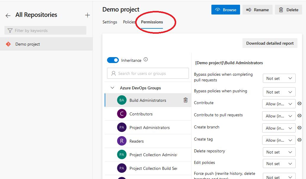 Azure DevOps set specific repository permissions
