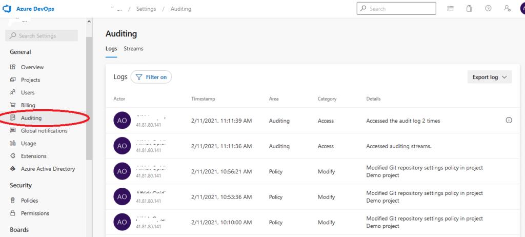 Azure DevOps access audit events