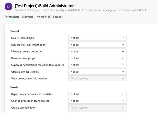 Azure DevOps Build Administrators group permissions