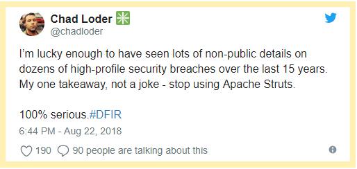 Chad Loder twitt - stop using Apache Struts